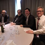 Enjoying themselves at the annual holiday lunch for the Residential and Civil Construction Alliance (RCCAO) in North York are: RCCAO board member Jason Ottey (Local 183); Stephen Bauld of Purchasing Consultants International; Todd Latham; and RCCAO board member Richard Lyall (JRCA).